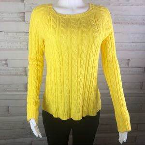 NWT! Pen Paper Crew Neck Cable Knit Sweater Yellow